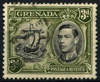 Grenada 1938-50 SG#158ab 3d Black & Brown Olive KGVI P13.5x12.5 Used #D52149