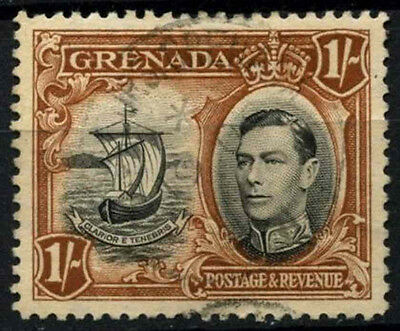 Grenada 1938-50 SG#160, 1s Black & Brown KGVI P12.5 Used #D52120