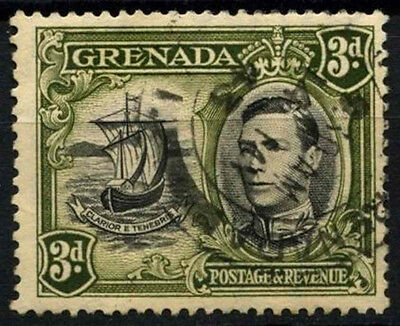 Grenada 1938-50 SG#158a 3d Black & Olive Green KGVI P13.5x12.5 Used #D52145