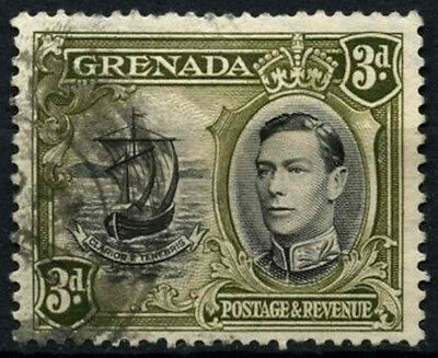Grenada 1938-50 SG#158ab 3d Black & Brown Olive KGVI P13.5x12.5 Used #D52148