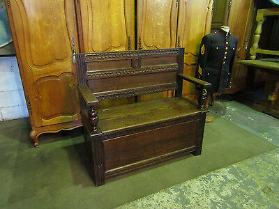 Large French ,country house,antique oak settle,monks bench,boot chest coffer,