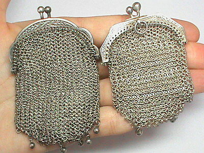 TWO Victorian Antique French Silver Purse chain mail