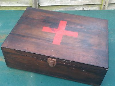 Unusual Vintage Wooden First Aid Box Medical Medicine Red Cross
