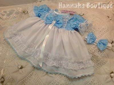 Hannahs Boutique Newborn Baby Blue Spot Dress & Headband Set Or Reborn 17-19""