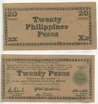GB023 - Banknote Philippines 20 Pesos 1944 EMERGENCY CURRENCY BOARD NOTE