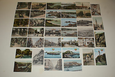Channel Island Poscards - Jersey - Lot De 37 Cartes Postales Anciennes Vers 1900