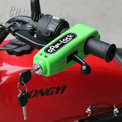 Green Scooter Handlebar Brake Lever Grip Security Anti Theft Lock For Kawasaki