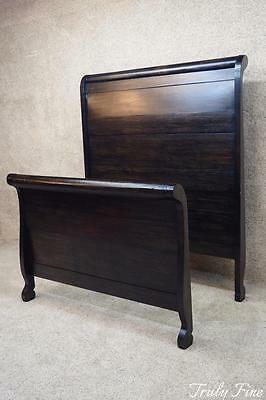 Victorian Sleigh Bed High-Back Full Size Distressed Black Antique Sturdy Paneled