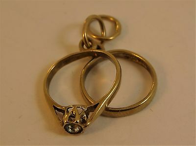 Vintage Solid 9ct Yellow Gold ENGAGEMENT WEDDING RING CHARM Pendant Hm BC22