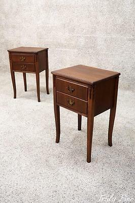 Antique Mahogany SHERATON Nightstands 2 Side End Night Stands Tables Bellflowers