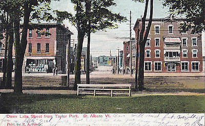 Down Lake Street from Taylor Park ST. ALBANS Vermont US 1908 R.A. Brush Postcard