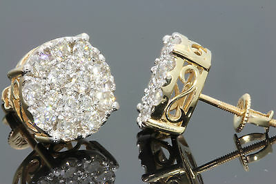 10K SOLID YELLOW GOLD 2 CARAT WOMENS 12 mm REAL NATURAL DIAMONDS EARRING STUDS