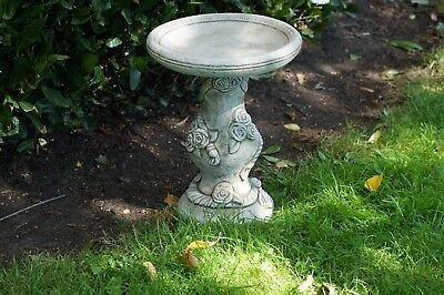 ROSE BIRD BATH Feeder Stone Handmade Bespoke Garden Ornament Decor