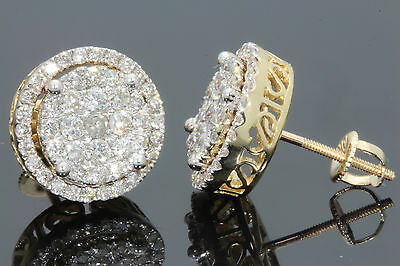 10K SOLID YELLOW GOLD 1.35 CARAT WOMENS 12mm REAL NATURAL DIAMONDS EARRING STUDS