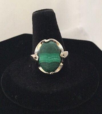 Vintage Mexico 925 Sterling Silver Malachite Ring Size 8