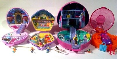 Polly Pocket 90's BlueBird Lot Of 4 With Figures Cars Complete Vintage Rare Toys