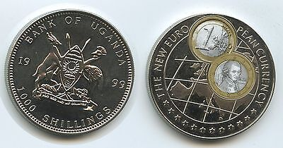 GS256 - Uganda 1000 Shillings 1999 KM#266 New Euro Currency Österreich Mozart