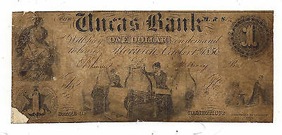 1856 The Uncas Bank, CT - One Dollar Obsolete Note Note No.2740 - Scarce Note