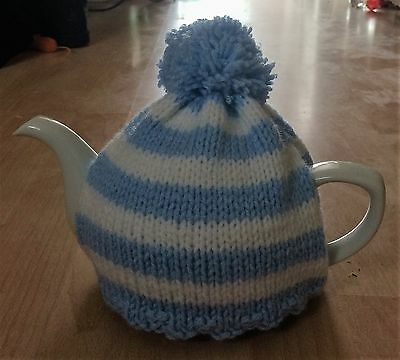 Hand-knitted - Crochet -  Cornish blue and white - 6 cup Tea Cosy