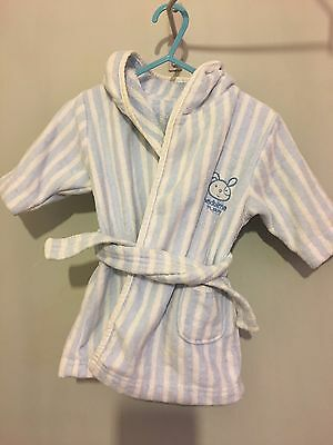 Cute Baby Boys Mothercare Dressing Gown With Hood 0-6m🚀