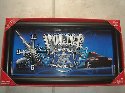 POLICE CLOCK FRAMED CLOCK HANG OR STAND New