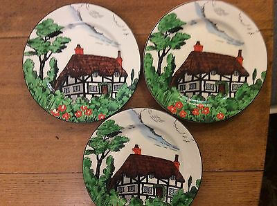 "John Maddock and Sons Art Deco Thatched Cottage Hand Painted Three 7"" Plates"