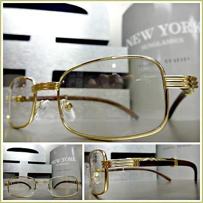 VINTAGE RETRO Style Clear Lens EYE GLASSES Small Gold & Wood Wooden Effect Frame