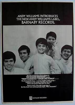 THE OSMONDS osmond brothers 1968 Poster Ad MARY ELIZABETH speak like a child