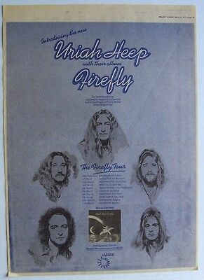 URIAH HEEP 1977 Poster Ad FIREFLY CONCERT TOUR