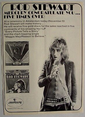 faces ROD STEWART 1971 Poster Ad EVERY PICTURE TELLS A STORY mercury MAGGIE MAY