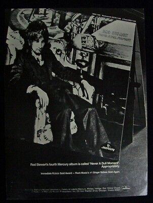 ROD STEWART 1972 Poster Ad NEVER A DULL MOMENT faces