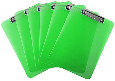 Plastic Clipboard Transparent Letter Size Low Profile Clip (Pack of 6) (Green)