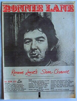 faces RONNIE LANE 1975 Poster Ad UK CONCERT TOUR slim chance