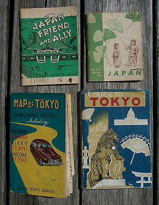 2 Vintage 1950's Military Pocket Guide to Japan + Map of Tokyo + Tour Book Nr