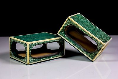Antique Pair Of Shagreen Matchbox Vesta Covers