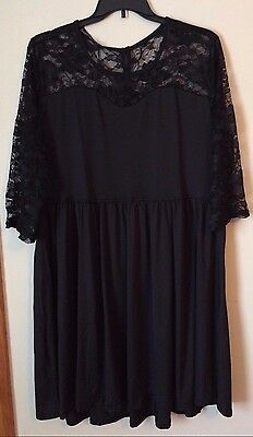 NWT - Women's Sapphyra Black Dress with Black Lace - Plus Size 4X - Beautiful