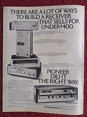 1979 Print Ad Pioneer SX-780 Stereo Receiver ~ The Right Way to Build a Receiver