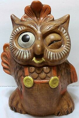 Vintage 1960s Brown Winking Waving Owl Cookie Jar Kitchen Decor Candy SEE VIDEO