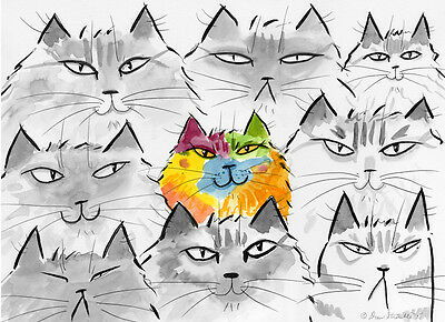 """dare To Be Different""  Matted Open Ed. Cat Art Print Drew Strouble - Catmandrew"
