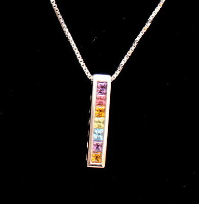 9ct White Gold Pendant Necklace With Chain