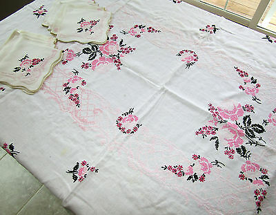 Antique Cross Stitch Embroidery Linen Hand Embroidered Tablecloth 8 Napkins