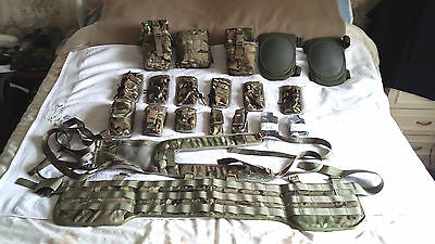 British Army Issue Mtp Webbing,14 Pouches+Knee Pads And Magpuls, New.
