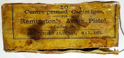 Empty Box for 10 .50 Remington's Army Pistol Frankford Arsenal 1873 w date