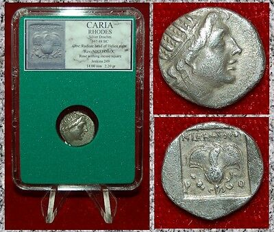 Ancient Greek Coin CARIA RHODES Helios and Rose Silver Drachm Museum Quality!