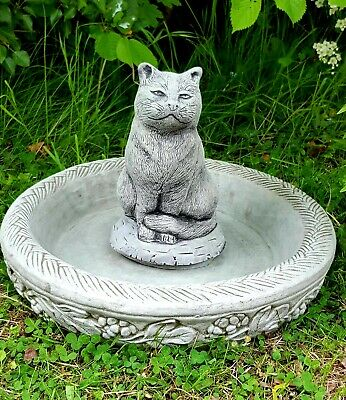 BIRD BATH FEEDER WITH CAT STATUE Highly Detailed Stone Garden Ornament Decor