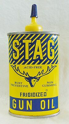 Vintage Stag Frigidized Yellow Gun Oil Tin With Blue Cap, Does Not Include Oil.