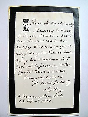 Signed Owen Meredith, the Earl of Lytton letter English Poet and Diplomat