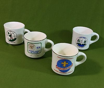 Vintage 1970s Boy Scouts of America Coffee Mugs Lot of 4 Camp Council