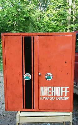 Niehoff Tune Up Ignition Vintage Auto Parts Service Station Wall / Floor Cabinet