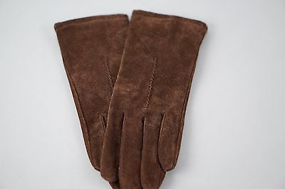 Fownes Women's Suede Leather Brown Winter Gloves Size Medium